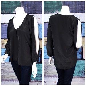 Tobi Black Silky Cold Shoulder Slit Long Slv Tunic